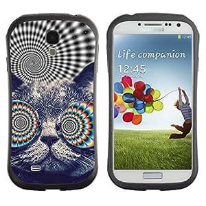Hybrid Anti-Shock Bumper Case for Samsung Galaxy S4 / Psychedelice Cat wangjiang maoyi