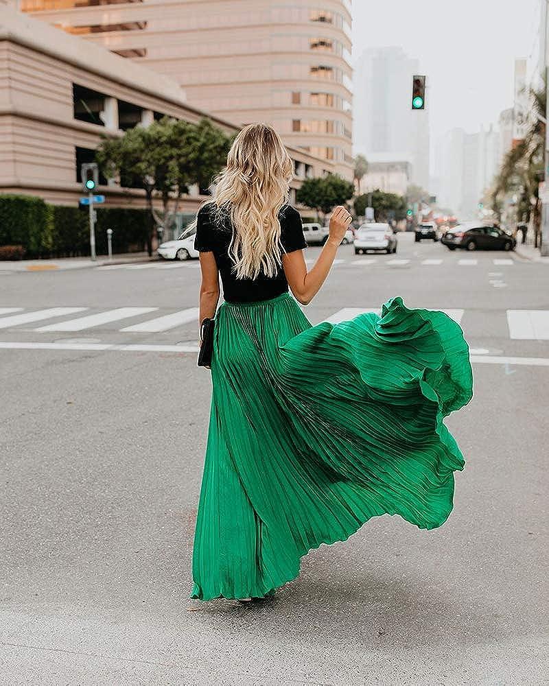 keepmore Flowy Pleated Skirt Womens Fashion Bohemian Skirt Long Skirt Chiffon Skirt