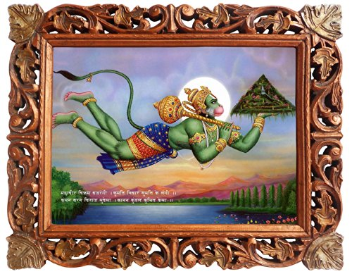 Handicraftstore Lord Anjaneya Wall Hanging Poster Painting/Panchmukhi Hanuman Home Decorative Photo Picture with Wood Carved Frame/Hindu Deity Monkey God Portrait-Religious Art Gift - Carved Wood Frame