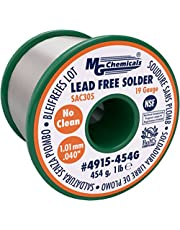 """""""MG Chemicals SAC305, 96.3% Tin.7% Copper, 3% Silver, Non Leaded Solder, No Clean, 1.1mm.4"""""""" Dia."""", 454g (4915-454G)"""