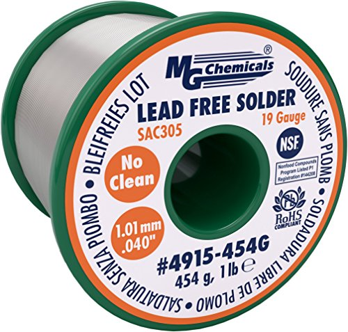 Dia Tin - MG Chemicals SAC305, 96.3% Tin, .7% Copper, 3% Silver, Lead Free Solder, No Clean, 1.1mm, .4
