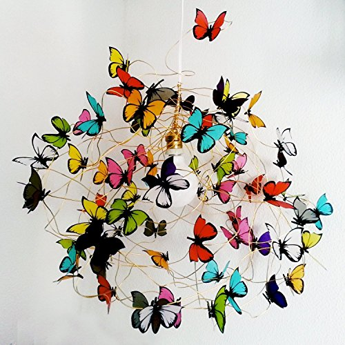 XL Ceiling lamp multicolor butterflies-Bedroom Lighting,Fun Light,Colorful light,playroom,Kids Room Decor,Room Light,butterfly lover,woman from atlastcrafts