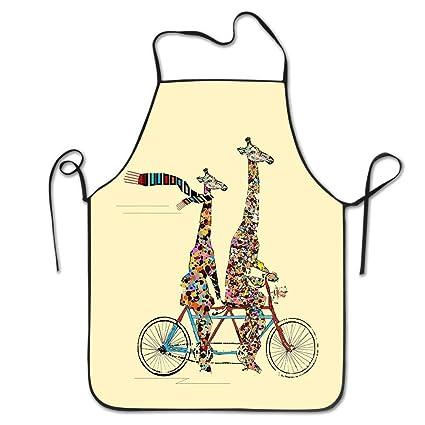 Sweet grape Hip Hop Apron Giraffe Bicycle Women Bib Kitchen ...