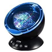 Wave Projector, Abcret Remote Control Ocean Wave Night Light with 12 LED &7 Colors and Built-in Mini Music Player in Living Room or Bedroom Including Adapter(12 LED Black)
