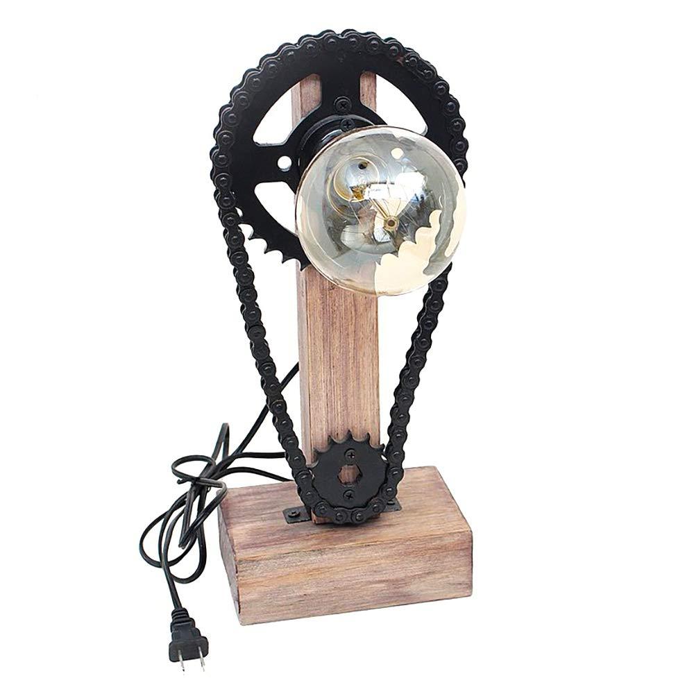 Chain Wheel Heavy Industrial Lamp - Creative Unique Incandescent/Edison Bulb Light - Home D'cor Furniture- Free Bulb Included-02