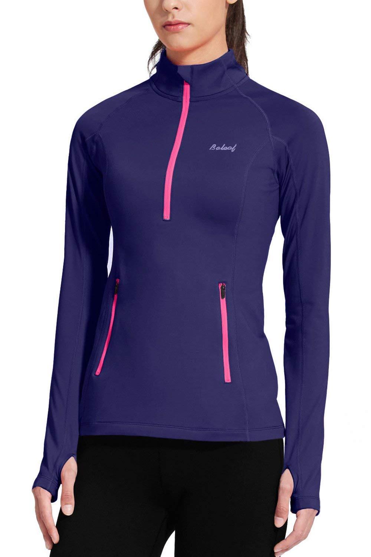 BALEAF Women's Thermal Fleece Half Zip Thumbholes