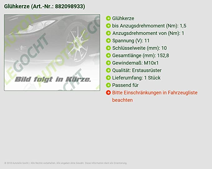 Para Hyundai H 1 Kia Sorento JC 02 - 07 2.5 Bujía de precalentamiento: Amazon.es: Coche y moto