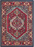 Safavieh Monaco Collection MNCB207C Modern Oriental Medallion Red and Turquoise Distressed Area Rug (3'4″ x 4'7″)