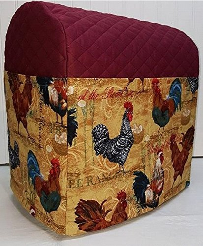 Quilted Rooster Kitchenaid Lift Bowl Stand Mixer Cover (Burgundy) (Stand Mixer Cover Bowl Lift compare prices)