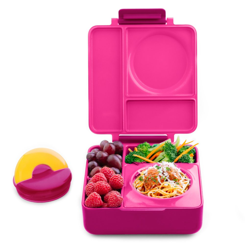 OmieBox - Leak-Proof 3-Compartment Bento Lunch Box For Kids - Includes Insulated Food Thermos - Two Temperature Zones For Hot & Cold Food (Pink Berry)