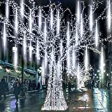 Meteor Lights Plug in 256 LED Falling Snowfall Lights Meteors Shower Rain Lights 30cm 8Tubes Cascading Light for Wedding Party Xmas Garden Tree Home Decor [Energy Class A++] (Cool White)