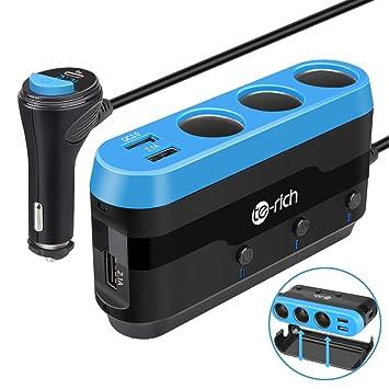 Te-Rich Cargador Coche Carga Rápida 3.0&USB C PD Adaptador de Mechero 120W con 3 Enchufes,Cargador de Mechero Vehículos Universal 12V/24V para ...