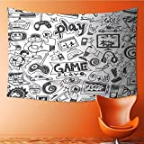 Nalahome Tapestry Wall Hanging Mysterious Tapestry Video Games Sketch Style Gaming Design Racing Monitor Device Gadget Teen Blak White Tapestry Art for Home Decor(80W x 59L INCH)