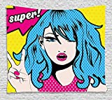asddcdfdd Fashion House Decor Tapestry, Woman with Hair ''Super'' Speech Bubble Victory Sign Cartoon Pop Art, Wall Hanging for Bedroom Living Room Dorm, 80WX60L Inches, Pink Yellow