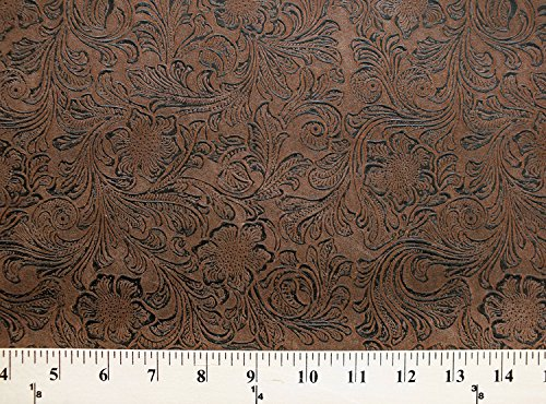 Faux Leather Look Brown Synthetic Floral Etched Tooled Fabric Print by the yard (3614-19628-BRO1) Tooled Faux Leather