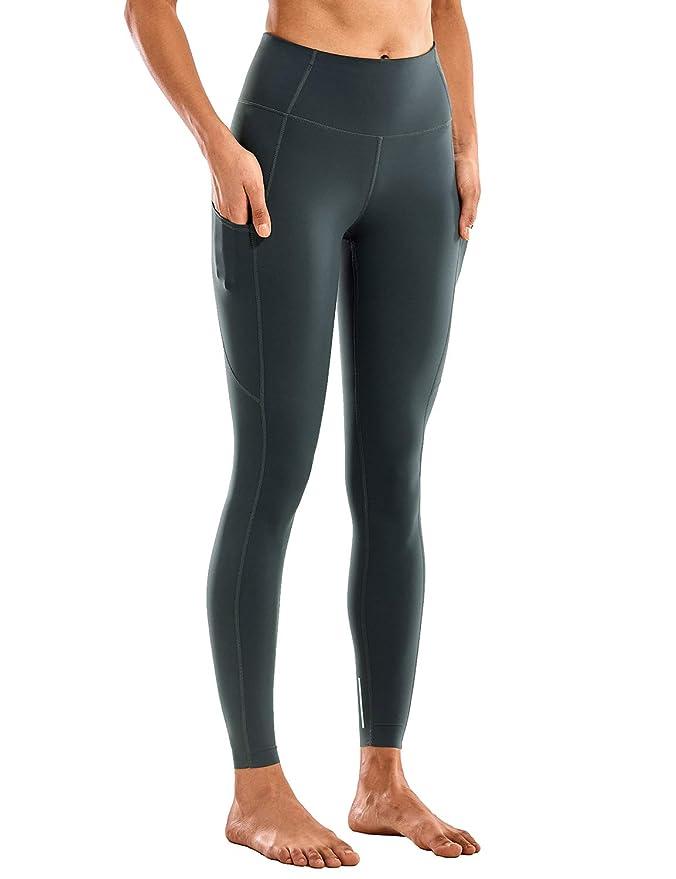 CRZ YOGA Mujer Mallas Deportivas Leggins Cintura Alta Fitness Pantalones con Bolsillos-71cm