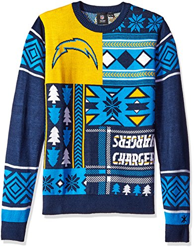 Los Angeles Chargers Patches Ugly Crew Neck Sweater Small (Christmas Chargers)