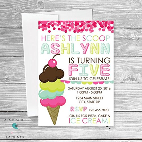 amazon com ice cream birthday invitation girl birthday invitation
