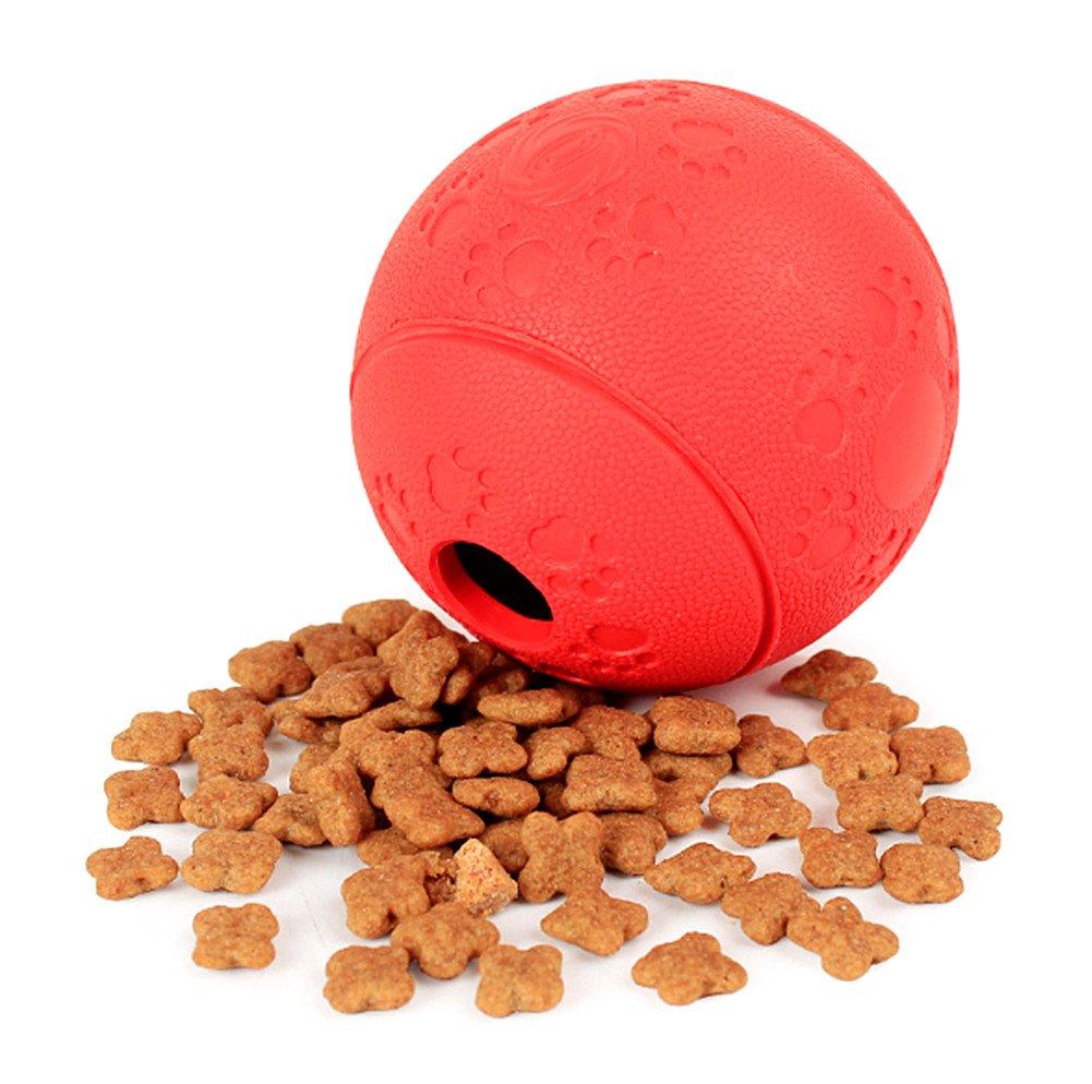 Petfunny Chien Doux en Caoutchouc Traiter Balle Animal de Compagnie Interactif Jouet Chewing Bite Balles Résistantes avec Alimentaire Dispensing pour Exercice Jeu Pratique Jouer Formation (Rouge)