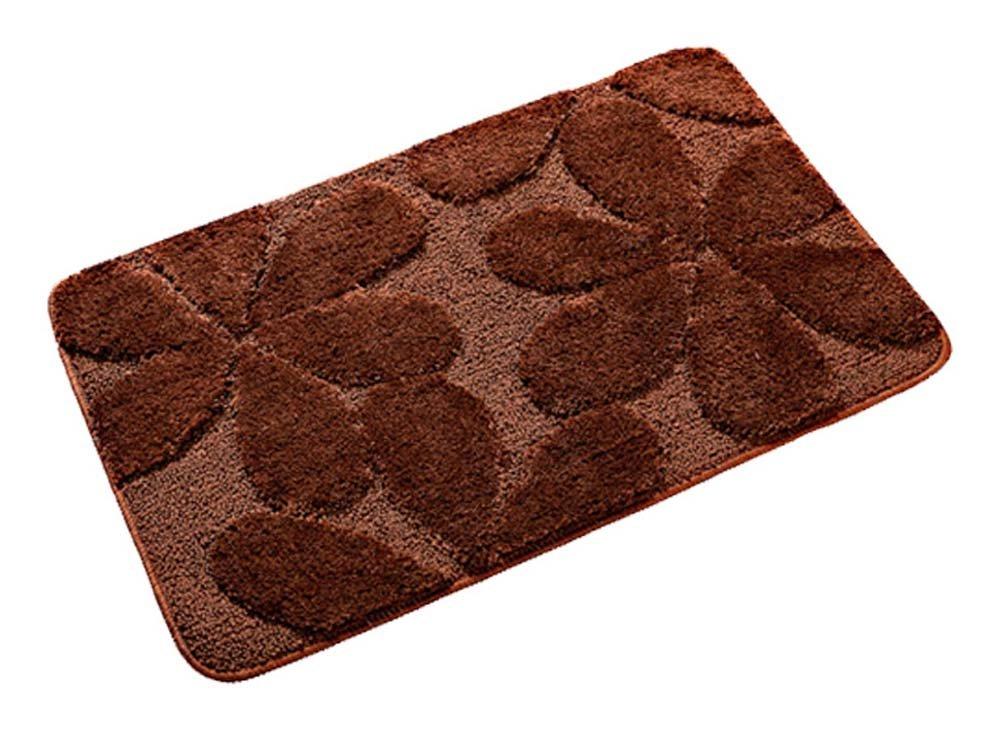 YJBear Solid Home Decor Hand Woven Area Rug Carpet Microfiber Entrance Doormat Rectangle Absorbent Non-Skid Outdoor Floor Mat Brown 20'' X 32''