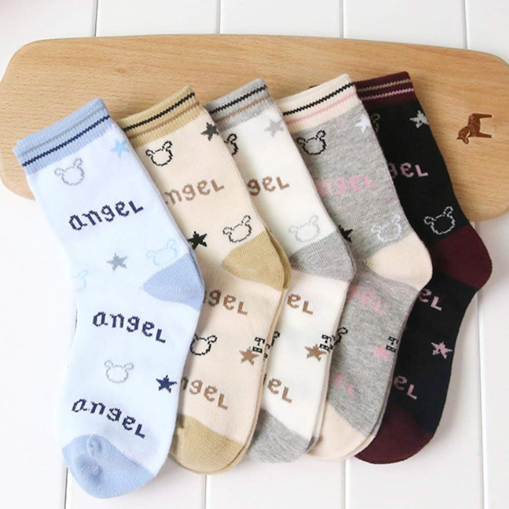 5 Pairs Toddler Baby Boys Soft Warm Cartoon Printing Cotton Kids Crew Socks
