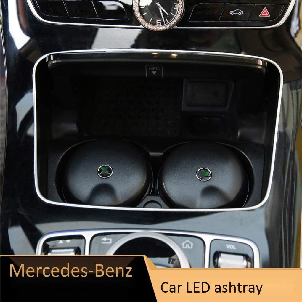 Ashtray Compatible with Mercedes-Benz Car Ashtray New C-Class C200L E-Class GLCE-Class GLC//GLA//A-Class//with LED Lights Can Cover The Same Ashtray Storage Box in 4S Shop Color : A