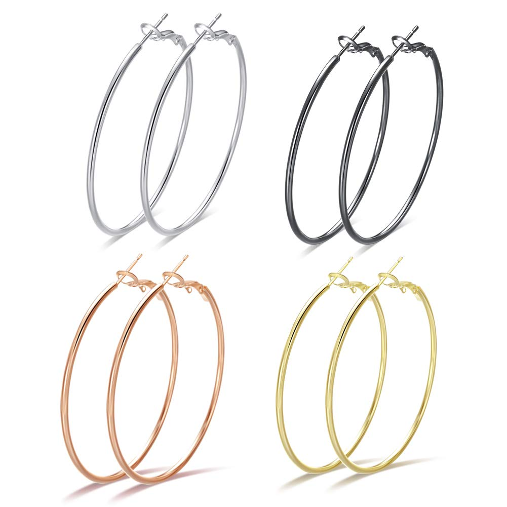 f9c531127 Amazon.com: Big Hoop Earrings for Women - 4 Pairs Hypoallergenic Minimalist  Stainless Steel Thin Round Hoop Earrings set, 14K Gold Plated Rose Gold  Silver ...