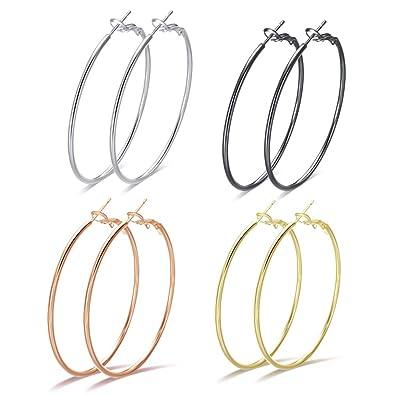 b4818272d Big Hoop Earrings for Women - 4 Pairs Hypoallergenic Minimalist Stainless  Steel Thin Round Hoop Earrings