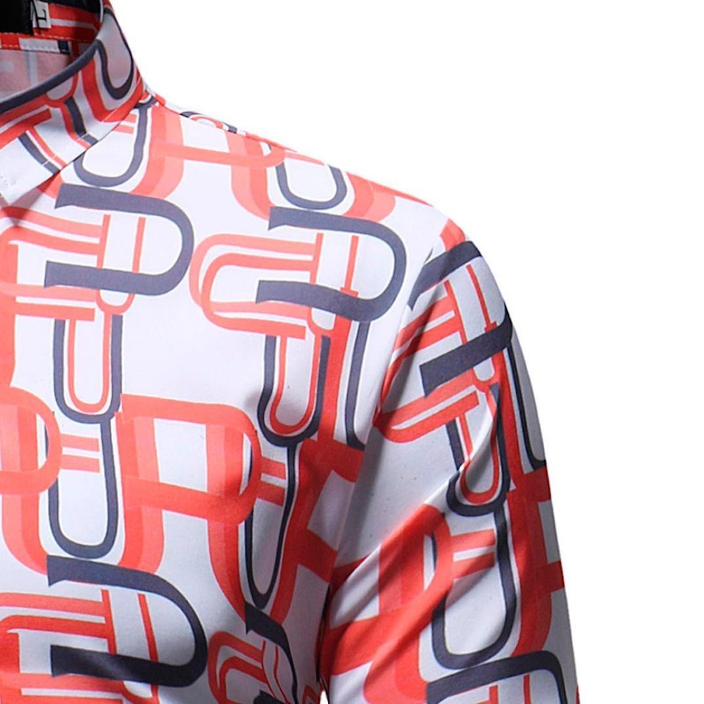 Resplend Blusa Impresa de la Manera del Hombre Camisas Ocasionales de Manga Larga Slim Tops: Amazon.es: Ropa y accesorios