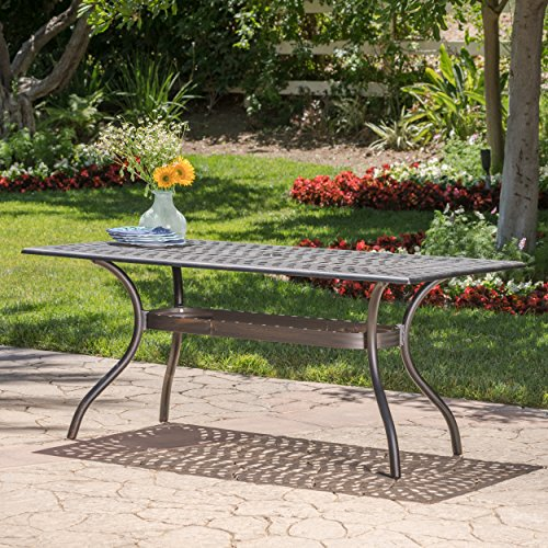 GDF Studio Augusta | Outdoor Cast Aluminum Dining Table | Perfect for Patio | in Shiny Copper -