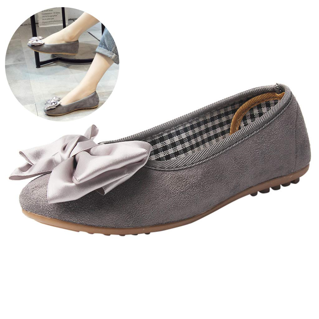 Women's Retro Bow Soft Single Shoes Comfy Foldable Shallow Single Shoes Slip On Flock Leather Loafers Casual Work Shoes (Gray, 9 M US)