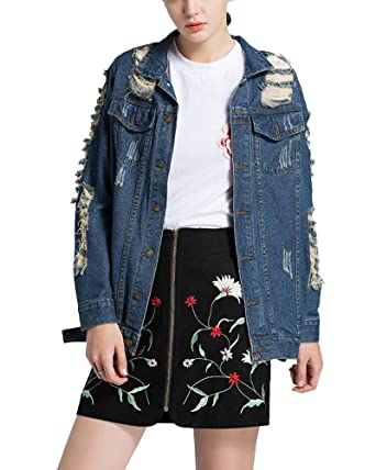 Mujer Chaquetas De Mezclilla Boyfriend Denim Jacket Manga Larga Abrigo Tallas Grandes: Amazon.es: Ropa y accesorios
