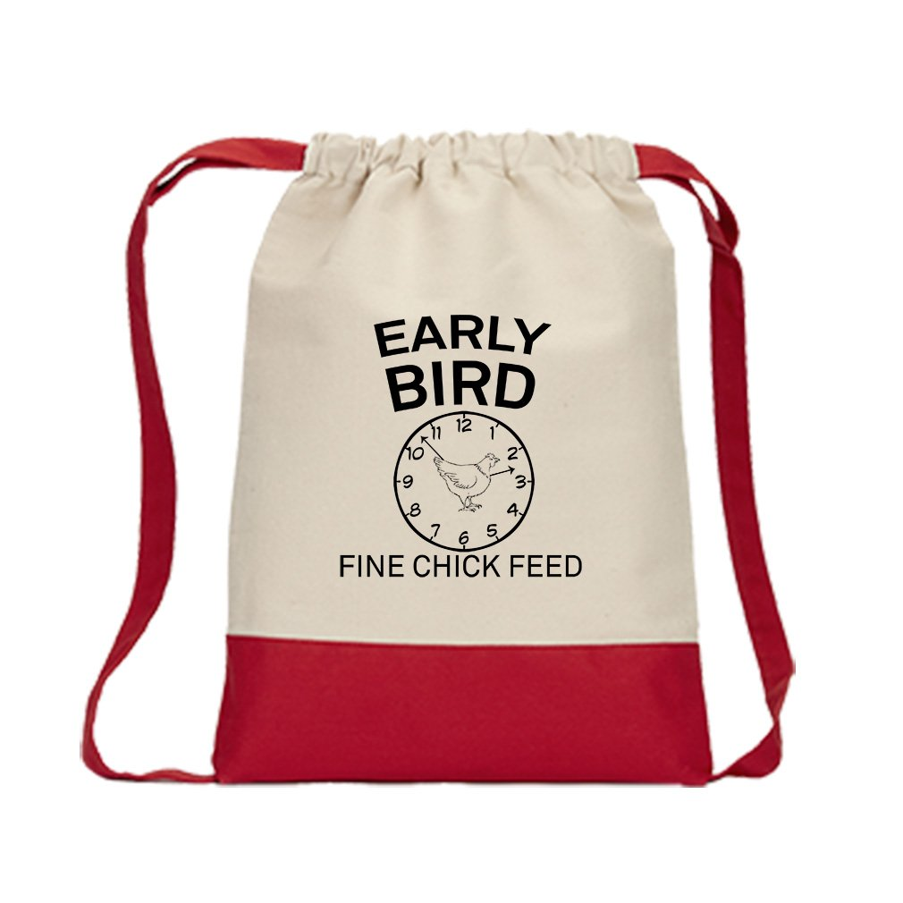 Early Bird Fine Chick Canvas Backpack Color Drawstring Bag - Red