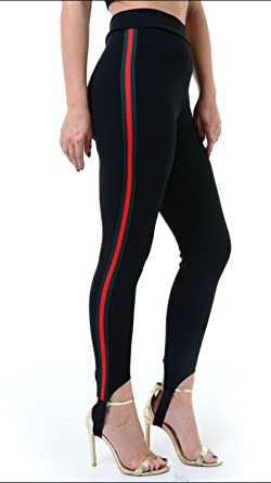 Sofias Closet Womens Green Red Side Stripe Ski Pants Leggings Black Under Foot Casual Sports Amazon Co Uk Clothing