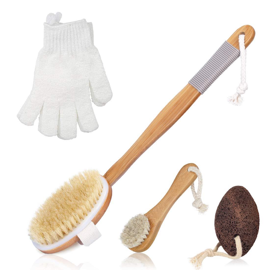 Dry Brushing Body Brush for Cellulite Lymphatic Body Brush Premium Natural Dry Skin Brush Set Detachable Long Bamboo Handle Exfoliating Brush Scrub Gloves Face Brush Pumice Stone Glowing Youthful Skin LIBOSA