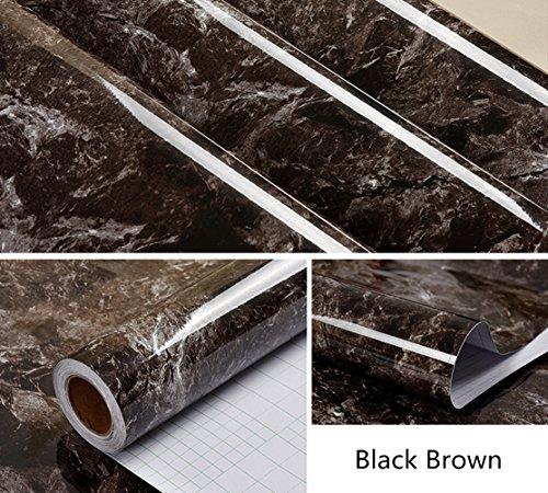 Grey Granite Counter (Amao Black Brown Granite Look Marble Effect Contact Paper Film Vinyl Self Adhesive Peel-stick Counter Top 24''x79'')