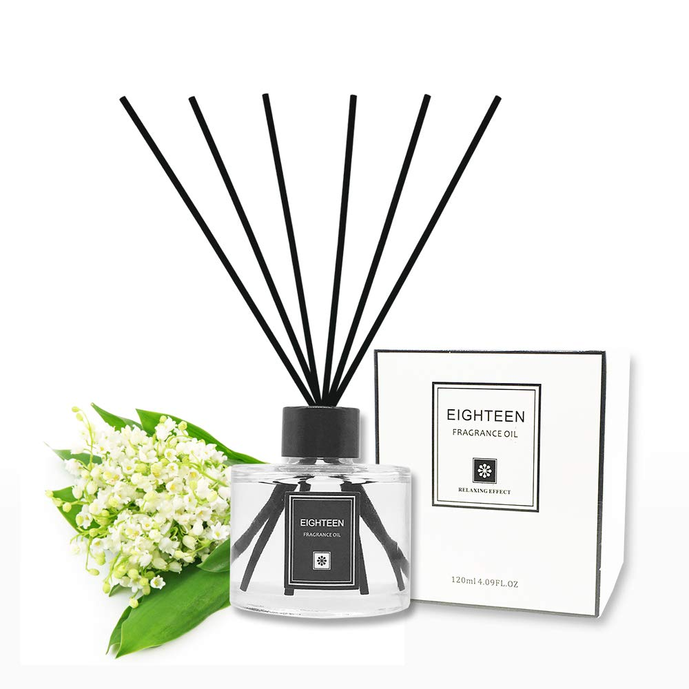 Binca Vidou Essential Oil Reed Diffuser, Wood Rattan Reed Aromatherapy Sticks Diffuser Set Relax Mind & Body for Fragrant Home Room Office Bathroom & Living Room 120 ml/4.9 oz (Lily of The Valley)