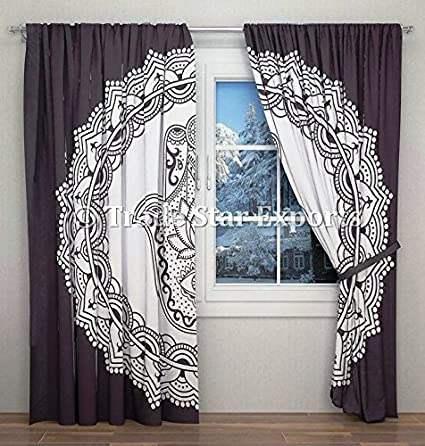 Hamsa Hand Curtains Hippie Wall Ds Panel Black And White Tapestry Window