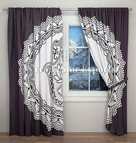 Hamsa Hand Curtains Hippie Wall Drapes Panel Black And White Tapestry Curtains Window Curtain Set With 2 Panels Boho Room Decor Cotton Curtains For Living Room Pattern 6 Buy Online In Aruba