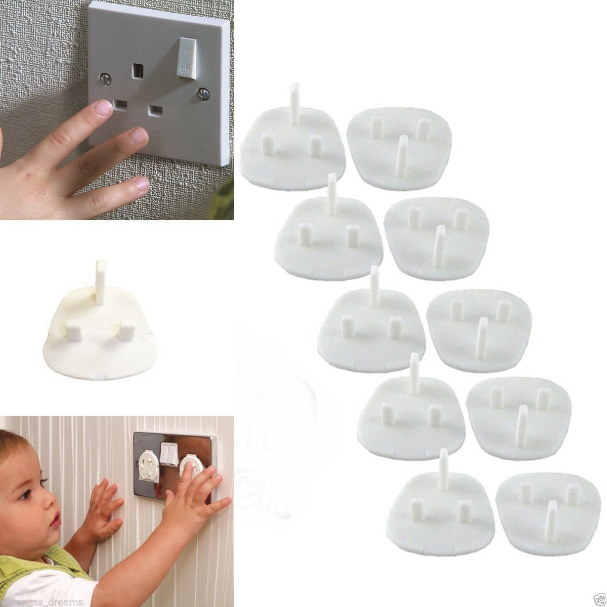 10 X Plug Socket Cover Baby Proof Child Safety Protector Guard Mains Electrical Unknown