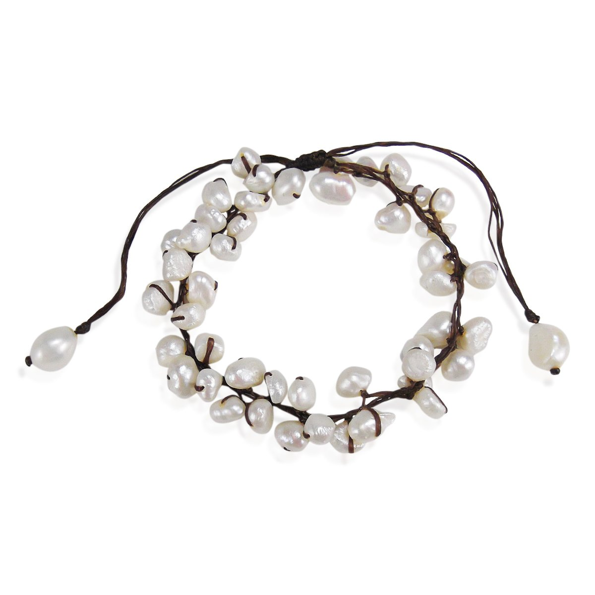 AeraVida Summer Breeze Beaded White Cultured Freshwater Pearl Pull Anklet