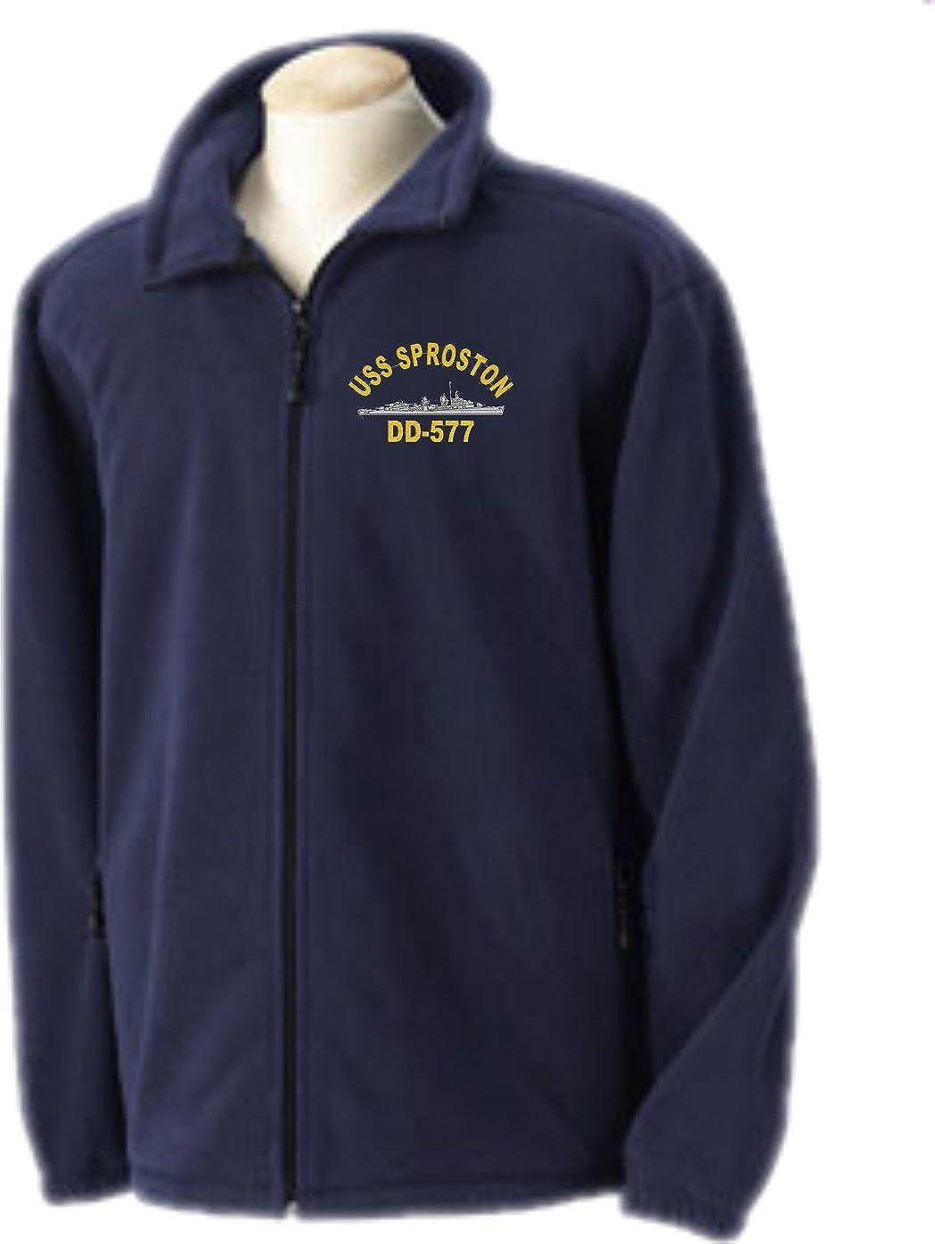 Custom Military Apparel USS Sproston DD-577 Embroidered Fleece Jacket Sizes SMALL-4X
