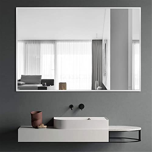 ZHOWI Wall Mirror Large Decorative Bathroom Bedroom Living Room Entryway Rectangular Aluminum Alloy Metal Frame Wall Mounted Hanging Horizontal or Vertical 26x38in, Silver