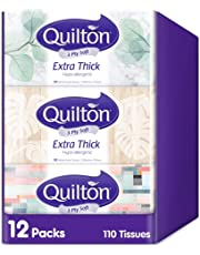 Quilton 3 Ply Extra Thick Facial Tissues (Hypo-allergenic, 110 Sheets per box, 12 box per case ), 1320 count