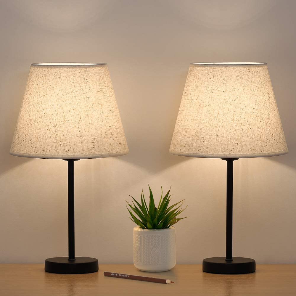 Pequeñas lámpara de mesa de noche, juego de 2 unidades, lámpara de mesa de noche, pantalla de lino, base de metal, para dormitorio, salón, oficina, hogar