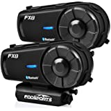 FODSPORTS FX8 Motorcycle Bluetooth Intercom with Noise Cancellation, Louder Volume Motorcycle Bluetooth Headset with Great Sound Quality, FM, Up to 8 Riders Group Intercom Communication System(2pcs)