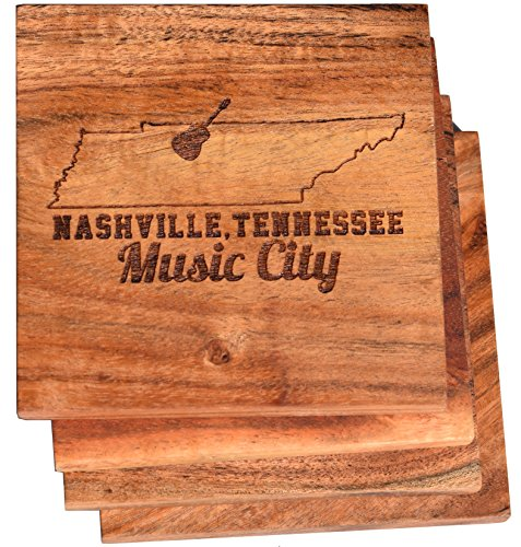 Nashville Tennessee Music City Drink Coasters (Multiple Designs) - Engraved Acacia Wood Design - Set of Four ()