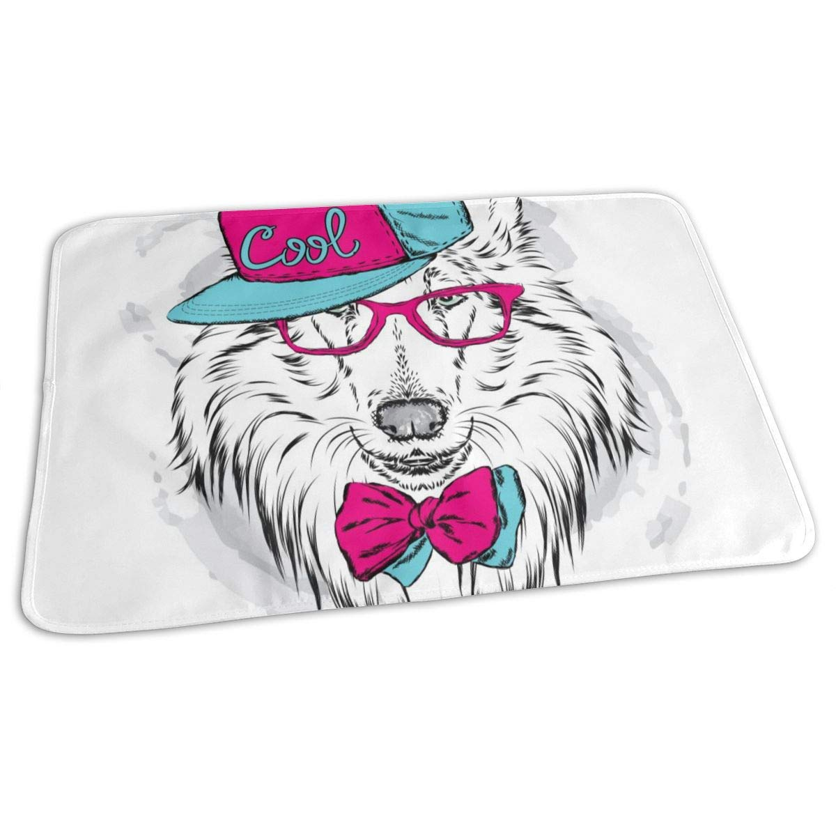 Osvbs Lovely Baby Reusable Waterproof Portable Collie Wearing A Cap and Sunglasses Changing Pad Home Travel 27.5''x19.7'' by Osvbs