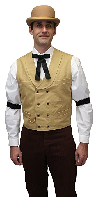 Men's Steampunk Clothing, Costumes, Fashion Mens Canvas Double Breasted Dress Vest $59.95 AT vintagedancer.com