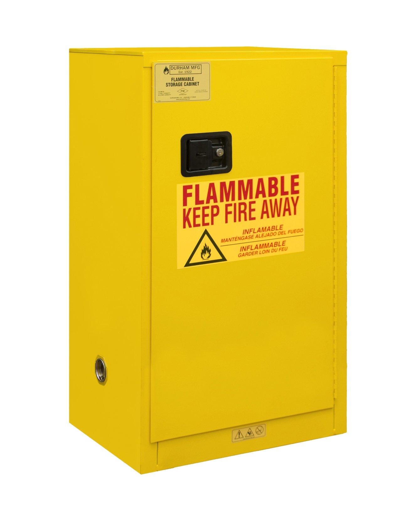 Durham 1016M-50 Welded 16 Gauge Steel Flammable Safety Manual Door Cabinet, 1 Shelf, 16 gal Capacity, 18'' Length x 23'' Width x 44'' Height, Yellow Powder Coat Finish